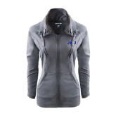 Ladies Sport Wick Stretch Full Zip Charcoal Jacket-JWU