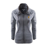 Ladies Sport Wick Stretch Full Zip Charcoal Jacket-Wildcat Head