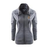 Ladies Sport Wick Stretch Full Zip Charcoal Jacket-JWU Wildcats