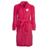 Ladies Pink Raspberry Plush Microfleece Shawl Collar Robe-Wildcat Head
