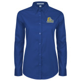 Ladies Royal Twill Button Down Long Sleeve-JWU Wildcats
