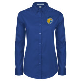 Ladies Royal Twill Button Down Long Sleeve-Wildcat Head