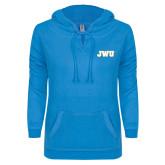 ENZA Ladies Pacific Blue V Notch Raw Edge Fleece Hoodie-JWU