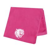 Pink Beach Towel-Wildcat Head