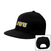 Black Flat Bill Snapback Hat-JWU