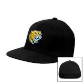 Black OttoFlex Flat Bill Pro Style Hat-Wildcat Head