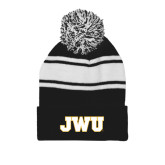 Black/White Two Tone Knit Pom Beanie w/Cuff-JWU