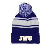 Royal/White Two Tone Knit Pom Beanie with Cuff-JWU