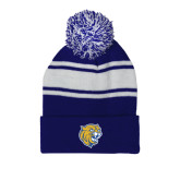 Royal/White Two Tone Knit Pom Beanie w/Cuff-Wildcat Head