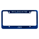 Metal Blue License Plate Frame-JWU Engraved
