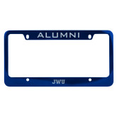 Alumni Metal Blue License Plate Frame-JWU Engraved
