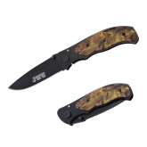 Black Stainless Steel Camo Utility Knife-JWU Engraved