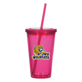 Madison Double Wall Pink Tumbler w/Straw 16oz-JWU Wildcats