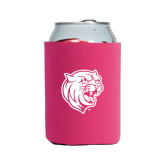 Collapsible Hot Pink Can Holder-Wildcat Head