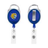 Blue Oval Retractable Badge Holder w/Clip-Wildcat Head