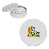 White Round Peppermint Clicker Tin-JWU Wildcats