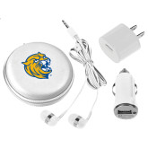 3 in 1 White Audio Travel Kit-Wildcat Head