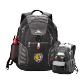 High Sierra Big Wig Black Compu Backpack-Wildcat Head