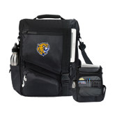 Momentum Black Computer Messenger Bag-Wildcat Head