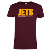 Ladies Maroon T Shirt-Arched
