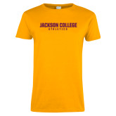 Ladies Gold T Shirt-Jackson College Athletics Wordmark