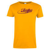 Ladies Gold T Shirt-Primay Mark Distressed