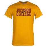 Gold T Shirt-Jackson College Stacked Distressed