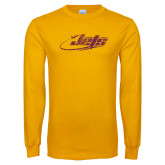 Gold Long Sleeve T Shirt-Primay Mark Distressed