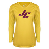 Ladies Syntrel Performance Gold Longsleeve Shirt-Stylized JC