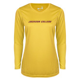 Ladies Syntrel Performance Gold Longsleeve Shirt-Jackson College Wordmark