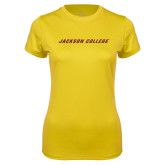 Ladies Syntrel Performance Gold Tee-Jackson College Wordmark