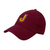 Maroon Twill Unstructured Low Profile Hat-J