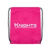 Pink Drawstring Backpack-Kinghts Joshua Christian Academy