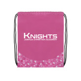 Nylon Pink Bubble Patterned Drawstring Backpack-Kinghts Joshua Christian Academy