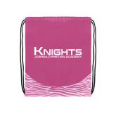Nylon Zebra Pink/White Patterned Drawstring Backpack-Kinghts Joshua Christian Academy