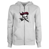 ENZA Ladies White Fleece Full Zip Hoodie-Knight Head