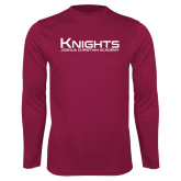 Performance Maroon Longsleeve Shirt-Kinghts Joshua Christian Academy