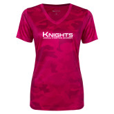 Ladies Pink Raspberry Camohex Performance Tee-Kinghts Joshua Christian Academy
