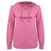 ENZA Ladies Hot Pink V Notch Raw Edge Fleece Hoodie-M Hot Pink Glitter