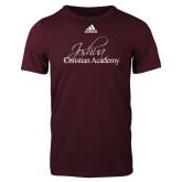 Adidas Maroon Logo T Shirt-Joshua Christian Academy