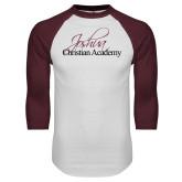 White/Maroon Raglan Baseball T Shirt-Joshua Christian Academy