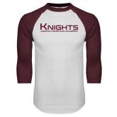 White/Maroon Raglan Baseball T Shirt-Kinghts Joshua Christian Academy