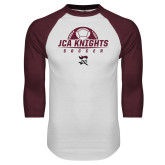 White/Maroon Raglan Baseball T Shirt-Soccer Ball