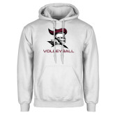 White Fleece Hoodie-Volleyball