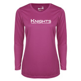 Ladies Syntrel Performance Raspberry Longsleeve Shirt-Kinghts Joshua Christian Academy