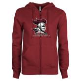 ENZA Ladies Maroon Fleece Full Zip Hoodie-Primary Mark