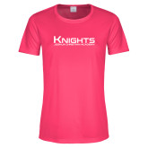 Ladies Performance Hot Pink Tee-Kinghts Joshua Christian Academy