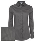 Ladies Grey Tonal Pattern Long Sleeve Shirt-Joshua Christian Academy