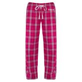 Ladies Dark Fuchsia/White Flannel Pajama Pant-Kinghts Joshua Christian Academy