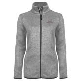 Grey Heather Ladies Fleece Jacket-Joshua Christian Academy